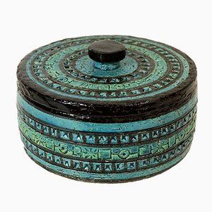 Italian Vintage Rimini Blue Lidded Jar by Aldo Londi for Bitossi, 1960s