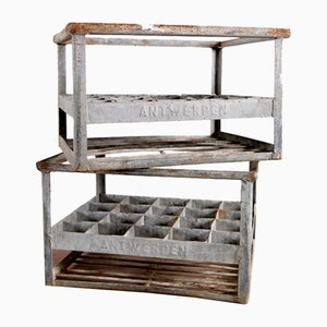 Vintage Belgian Metal Antwerp Crates, Set of 2