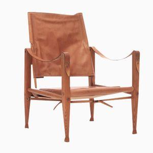 Safari Stuhl Nr.1 in Hellbraunem Leder von Kaare Klint für Rud. Rasmussen