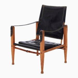 Schwarzer Safari Stuhl von Kaare Klint für Rud. Rasmussen, 1930er