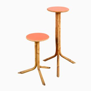 Rattan Side Tables, 1960s, Set of 2