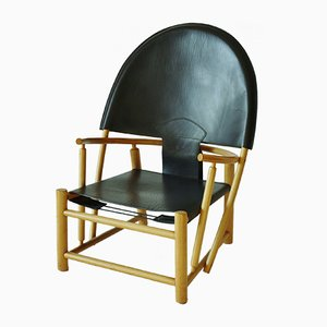 Leather & Beech Hoop Chair by Werther Toffoloni and Piero Palange, 1970s