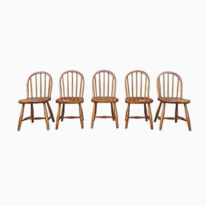 Vintage Beech Dining Chairs by Josef Frank for Thonet, Set of 5