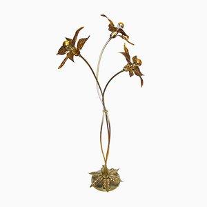 Gilt Brass Flower Floor Lamp from Massive Lighting, 1970s