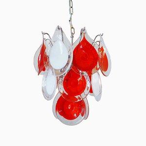 Rot & Weißer Glas Kronleuchter von Gino Vistosi für Venini, 1960er