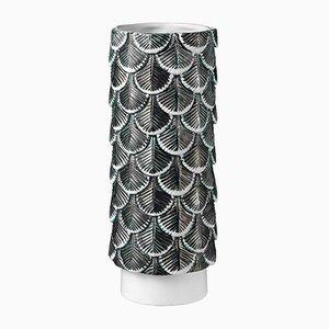 Hand-Dekorierte Plumage Vase in Weiß & Schwarz von Cristina Celestino für BottegaNove