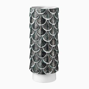 Plumage Hand-Decorated White & Black Vase by Cristina Celestino for BottegaNove
