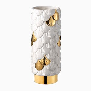 Hand Verzierte Plumage Vase in Weiß & Goldfarben von Cristina Celestino für BottegaNove