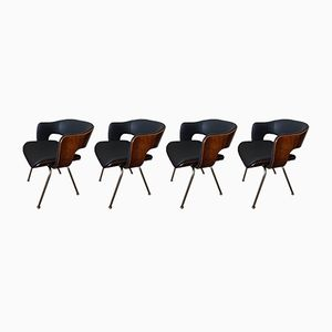 Mid-Century Leather & Rosewood Oxford Chairs by Martin Grierson, Set of 4