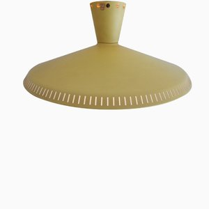 Light Yellow Industrial Ceiling Light by Louis Kalff for Philips, 1950s