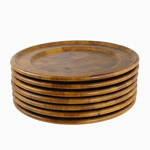 Danish Wooden Plates from Digsmed, Set of 7