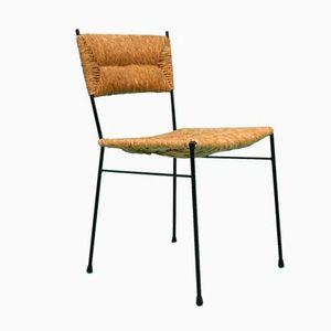 Mid-Century Stuhl mit Geflochtenem Sitz, 1960er