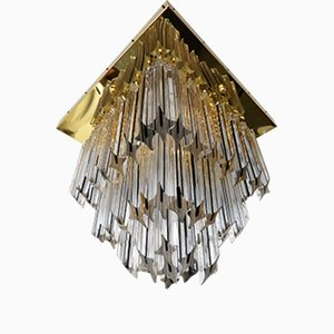Vintage Gold-Plated Square Chandelier from Venini