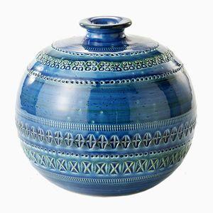 Vase Rimini Bleu en Forme de Balle par Aldo Londi pour Bitossi