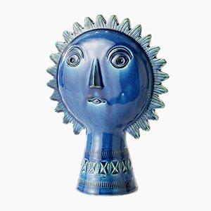 Blaue Sonnen Figur von Aldo Londi für Bitossi