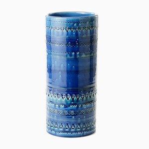 Blaue Zylinderförmige Vase von Aldo Londi für Bitossi