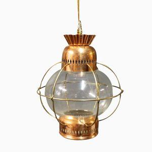 Lanterne Vintage en Cuivre et en Verre, 1960s