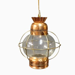 Vintage Copper and Glass Ship Lantern, 1960s
