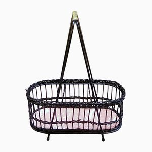 Mid-Century Wicker Wine Bottle Holder Basket, 1960s