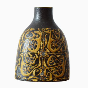 Dänische Vase mit Vogelmotiv von Nils Thorsson für Aluminia / Royal Copenhagen, 1970er