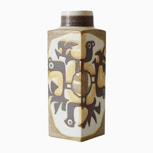 Hohe Dänische Vase mit Vogel-Motiv von Johanne Gerber für Aluminia / Royal Copenhagen