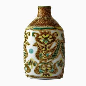 Dänische Vase mit Vogel-Motiv von Nils Thorsson für Aluminia / Royal Copenhagen