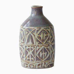 Dänische Vase mit Abstraktem Motiv von Nils Thorsson für Aluminia / Royal Copenhagen, 1970er