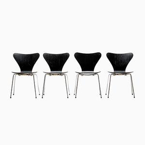 Schwedische Series 7 3107 Butterfly Stühle von Arne Jacobsen für Fritz Hansen, 4er Set
