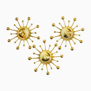German Gilt Brass Snowflake Pistil Wall Sconces from Palwa, 1960s, Set of 3