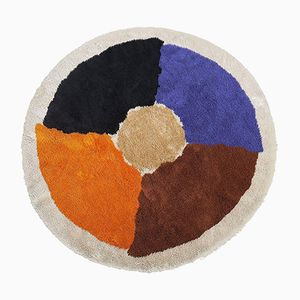 Large Circular Rya Carpet with Abstract Modernist Design, 1970s