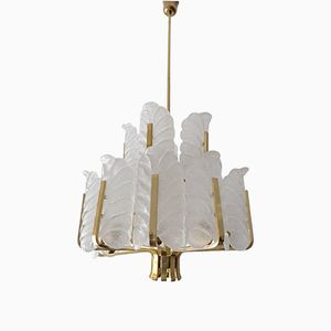 Two-Tier Brass & Glass Chandelier by Carl Fagerlund for Orrefors, 1960s
