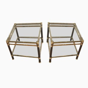 Glass and Brass Coffee Tables, 1970s, Set of 2