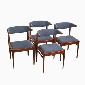 Danish Teak Cow Horn Chairs, 1960s, Set of 4