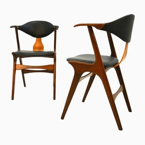 Teak & Skai Cowhorn Chairs by Louis van Teeffelen, Set of 2