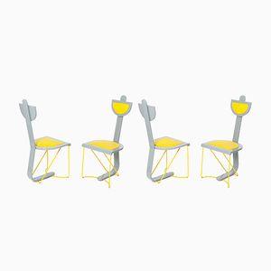 Stühle in Grau & Gelb, 4er Set
