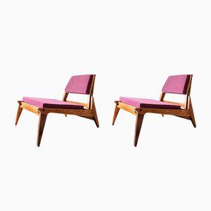 Oak Lilac Lounge Chairs, Set of 2