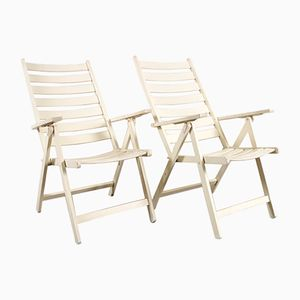 White Wooden Garden Chairs, Set of 2