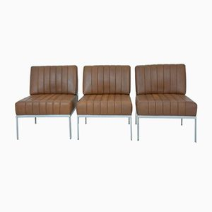 Brown Leatherette Lounge Chairs from DLG Knoll, Set of 3