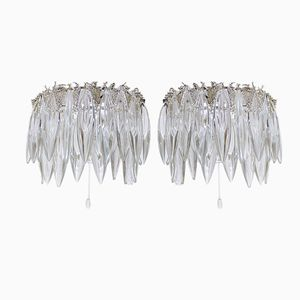 Mid-Century Crystal Glass Wall Sconces from Bakalowits & Söhne, Set of 2