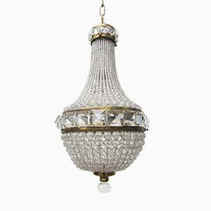 Vintage French Crystal Beaded Basket Chandelier