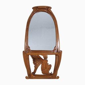Art Nouveau Oak Mirrored Hall Stand