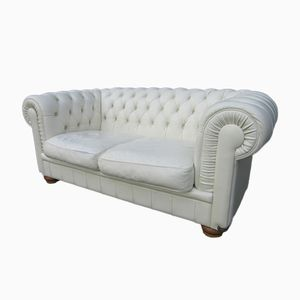 Italian White Leather Two-Seater Sofa from Natuzzi