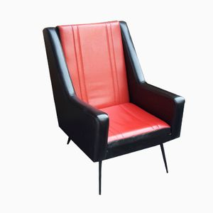 Red & Black Leatherette Armchair, 1950s