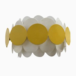 German White & Yellow Metal Space Age Wall Lamp from Doria, 1960s