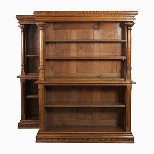 Gothic Style Oak Bookcases, 1900s, Set of 2