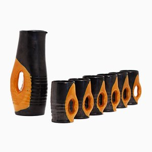 Mid-Century Black & Orange Ceramic Service by Mado Jolain