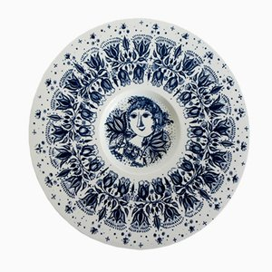 Dänischer Porzellan Teller von Bjorn Wiinblad für Nymolle, 1960