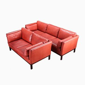 leder sofa von mogens hansen 1980er bei pamono kaufen. Black Bedroom Furniture Sets. Home Design Ideas