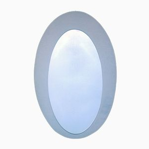 Brushed Aluminum Oval Mirror, 1970s