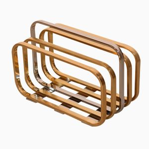 Chromed Metal and Brass Magazine Rack, 1970